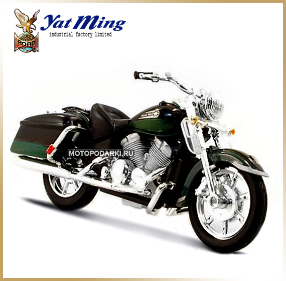 Yat Ming 1:18 <br>Модель мотоцикла<br>Yamaha Royal Star Green